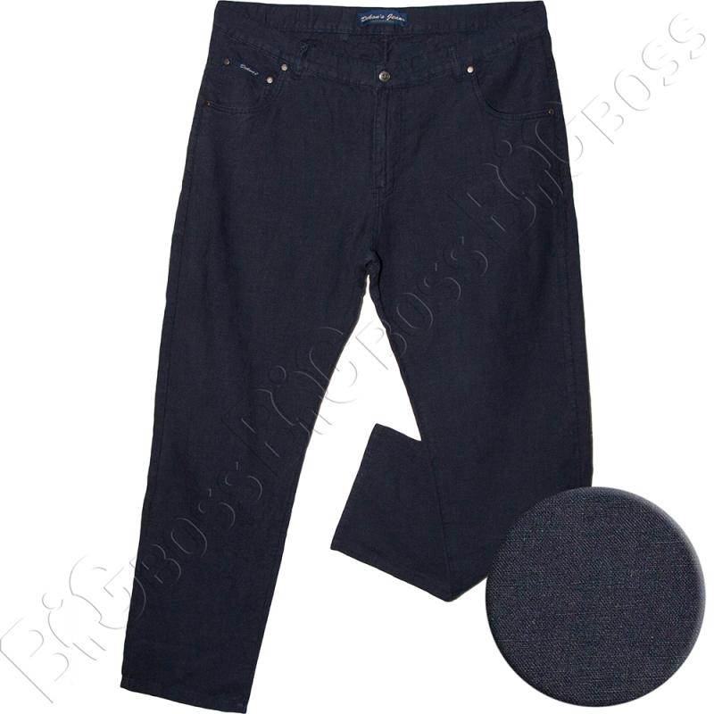 Льняные брюки тёмно синего цвета Dekons 0