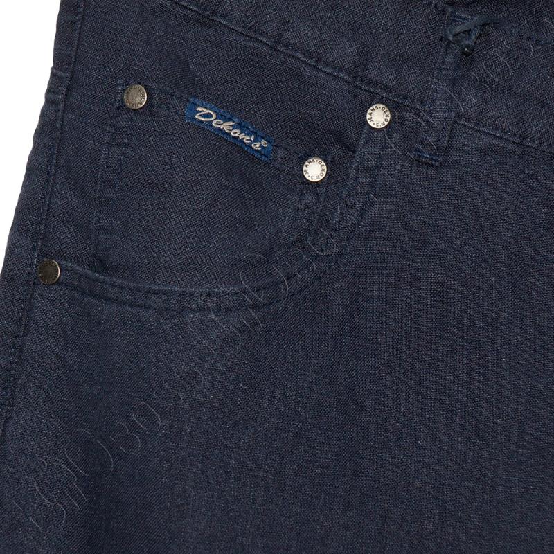 Льняные брюки тёмно синего цвета Dekons 2