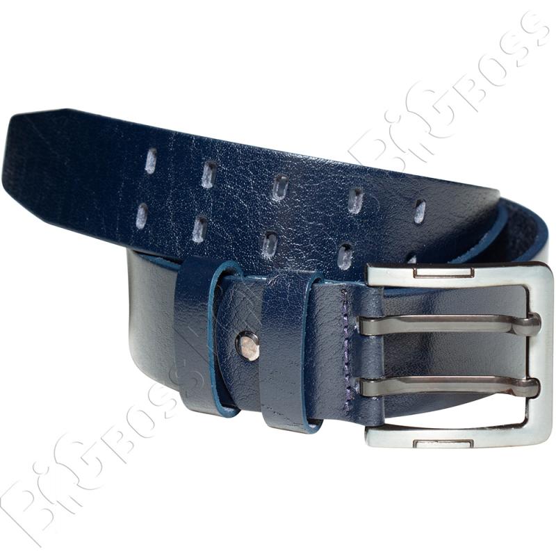 Кожаный ремень тёмно синего цвета Olser 0