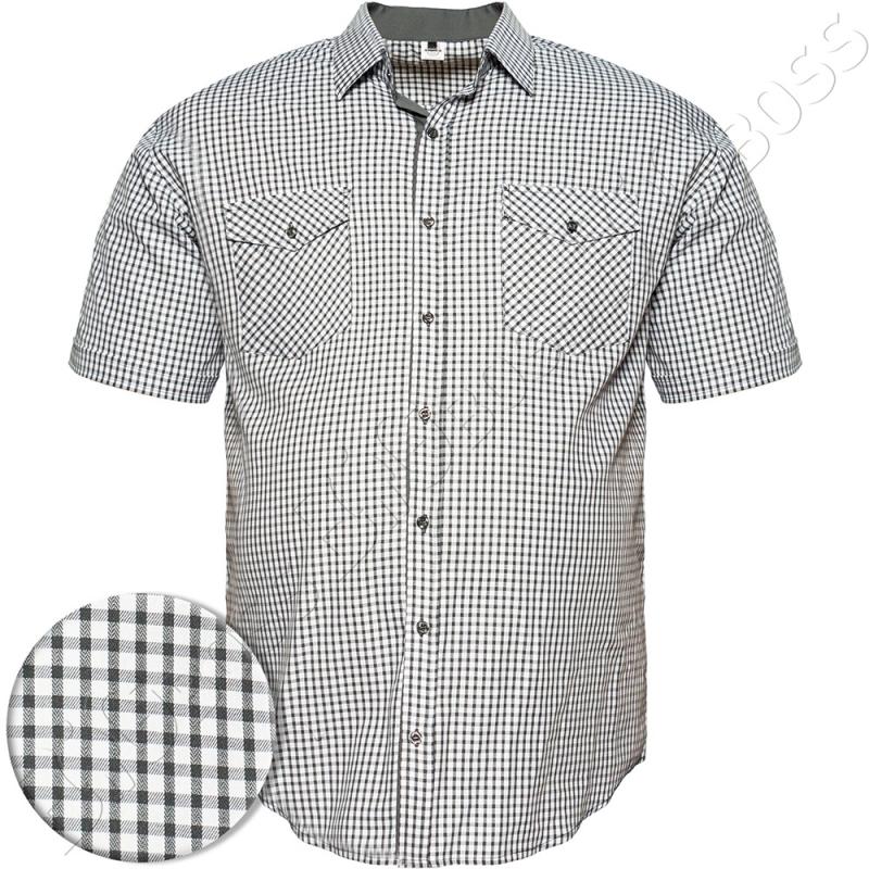 Рубашка короткий рукав в мелкую клетку Big Team 0