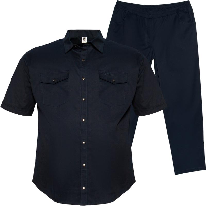 Весенний костюм (коттон) тёмно синего цвета Big Team  0