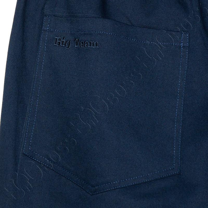 Весенние штаны на резинке тёмно синего цвета Big Team  5