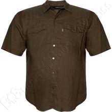 Льняная рубашка цвета хаки Dekons